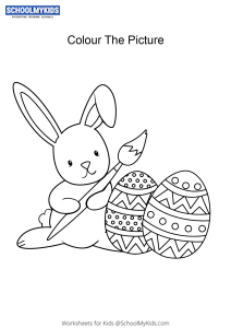 Bunny with Easter Eggs - Easter Bunny coloring pages