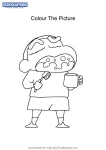 Shinnosuke Nohara Teeth Brushing - Shin Chan Coloring Pages