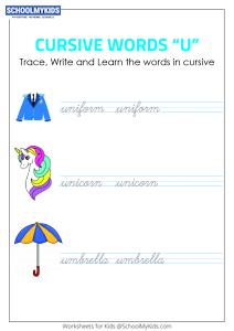 Cursive Writing U words - Cursive Words