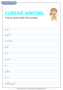Tracing and Writing Cursive Words A