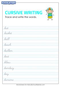 Tracing and Writing Cursive Words B