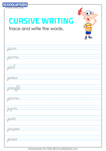 Tracing and Writing Cursive Words G