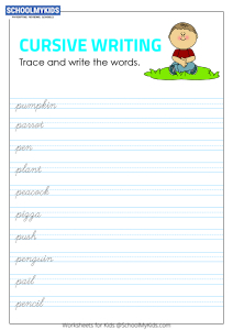 Tracing and Writing Cursive Words P