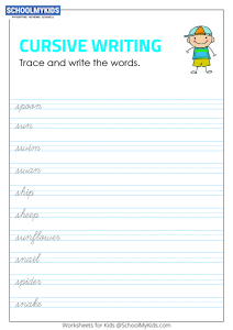 Tracing and Writing Cursive Words S