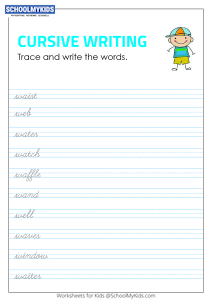 Tracing and Writing Cursive Words W