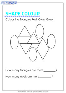 Colour the shapes and Count Triangles and Ovals