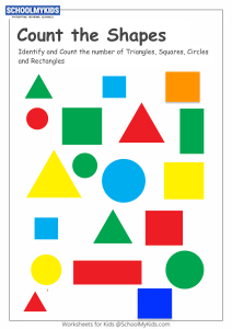Identify and Count Shapes - Counting Triangles, Squares, Circles and Rectangles