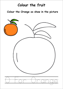 Colour the Fruits - Orange Coloring
