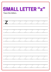 Writing Small Letter z - Lowercase Letter Tracing