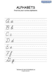 Cursive Writing Practice Sheets: Cursive Letters A-G