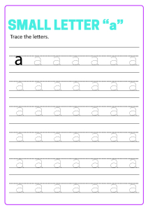 Writing Small Letter a - Lowercase Letter Tracing