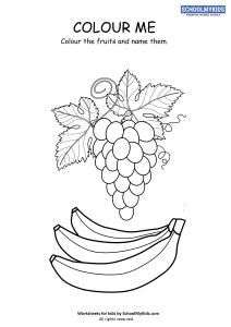 Fruits Coloring Page - Grapes and Banana