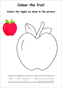 Colour the Fruits - Apple Coloring