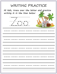 Writing Practice - Trace the Words - Zoo