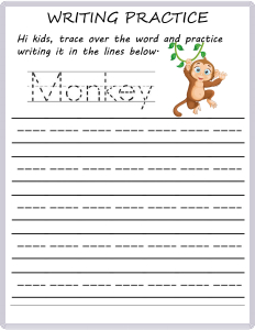 Writing Practice - Trace the Words - Monkey