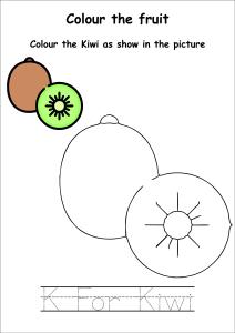 Colour the Fruits - Kiwi Coloring