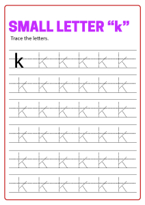 Writing Small Letter k - Lowercase Letter Tracing