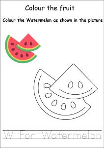 Colour the Fruits - Watermelon Coloring