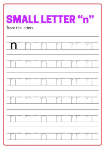 Writing Small Letter n - Lowercase Letter Tracing