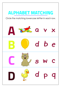 Circle Matching Uppercase and Lowercase Letters - A to D