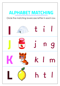 Circle Matching Uppercase and Lowercase Letters - I to L