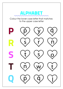 Color Matching Uppercase and Lowercase Letters - P to T