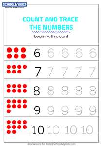 Tracing Numbers 6-10 - Count the Dots