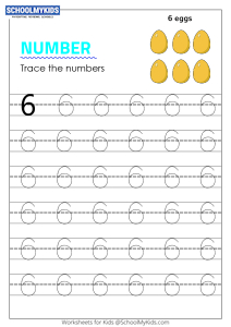 Tracing number 6 - Numbers 1-10 tracing
