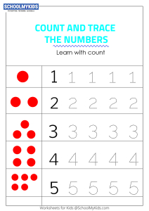 Tracing Numbers 1-5 - Count the Dots
