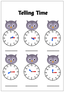 Telling Time to the Quarter Hour (Quarter Past) - Owl Theme Time