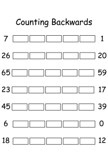 Counting Backwards by 1s - Write Missing Numbers
