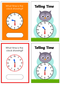 Telling Time to the Half Hour - Owl Cards Theme Time