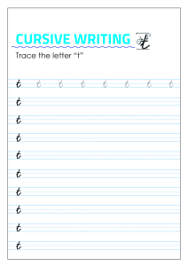 Letter t - Lowercase Cursive Writing