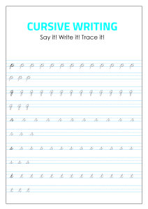 Lowercase Cursive Alphabet Tracing and Writing - p - t