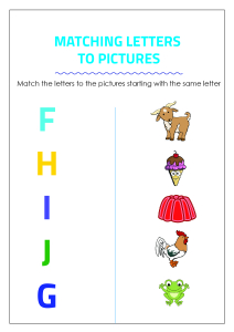 Matching Letters to Pictures F to J - Alphabet Matching