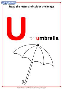 Read Letter U and Color the Umbrella