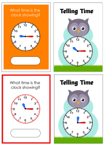 Telling Time to the Quarter Hour (Quarter Past) - Owl Cards Theme Time