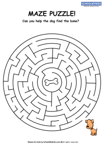 Mazes for Kids - Dog Bone Maze Puzzle