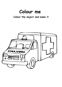Color the Ambulance  - Transportation Coloring Pages