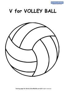 V for Volleyball Coloring Page