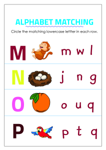 Circle Matching Uppercase and Lowercase Letters - M to P