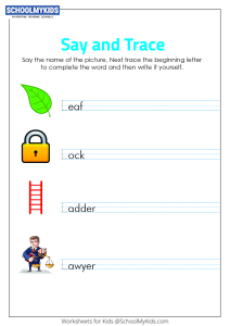 Say and Trace: Letter L Beginning Sound Words
