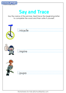 Say and Trace: Letter U Beginning Sound Words