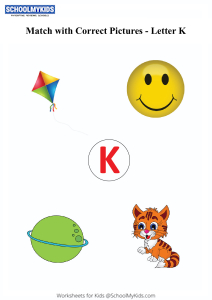 Letter K sound word pictures - Matching Letters to Pictures