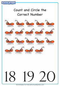 Count And Circle The Correct Number up to 20