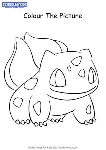 Pokemon Bulbasaur Pokemon Coloring Pages Worksheets For Kindergarten First Second Grade Art And Craft Worksheets Schoolmykids Com