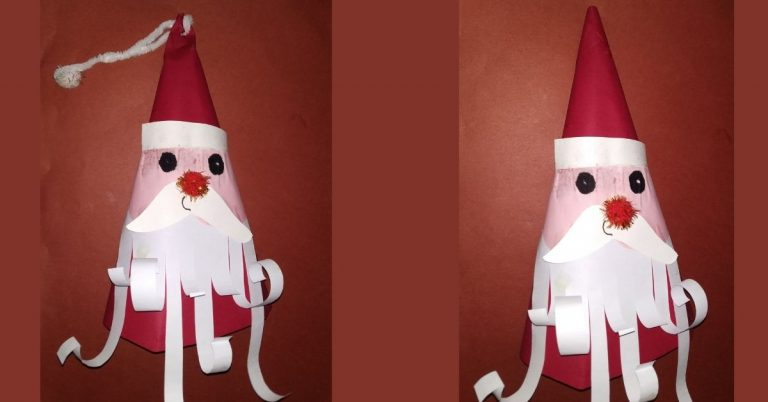 Origami Santa Cone Hat – Christmas Fun Crafts for Kids