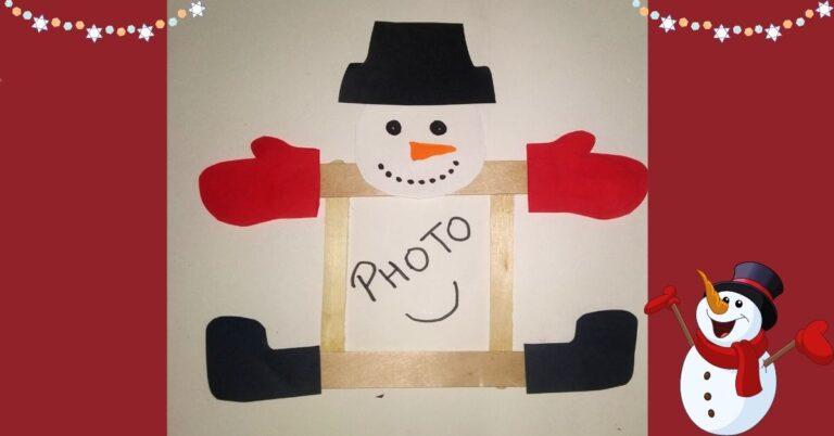 Adorable Snowman Popsicle Stick Photo Frame