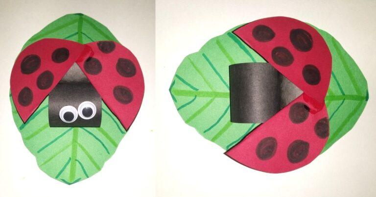 Construction Paper Ladybug on a Leaf Crafts for Kids