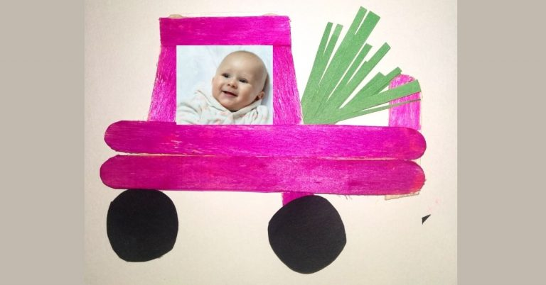 DIY Car and Truck Popsicle Stick Photo frame